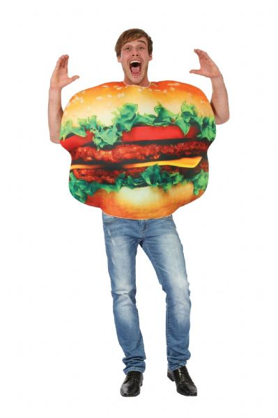 Adults Burger Costume Fast Food Take-Away Fancy Dress Outfit
